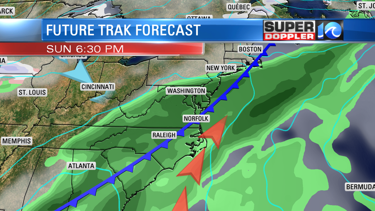COLD FRONT MOVES IN FOR SUNDAY - A SOGGY DAY