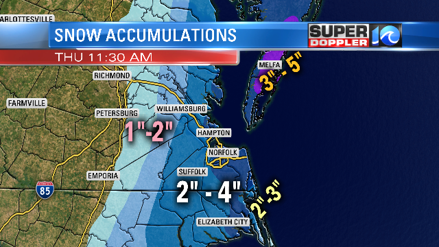 EARLY ESTIMATES FOR SNOWFALL ACCUMULATIONS THRU MIDDAY THURSDAY