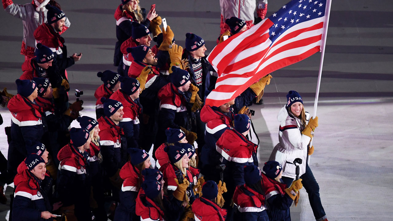 PYEONGCHANG-GUN, SOUTH KOREA - FEBRUARY 09:  Flag bearer Erin Hamlin of the United States and teammates enter the stadium during the Opening Ceremony of the PyeongChang 2018 Winter Olympic Games at PyeongChang Olympic Stadium on February 9, 2018...