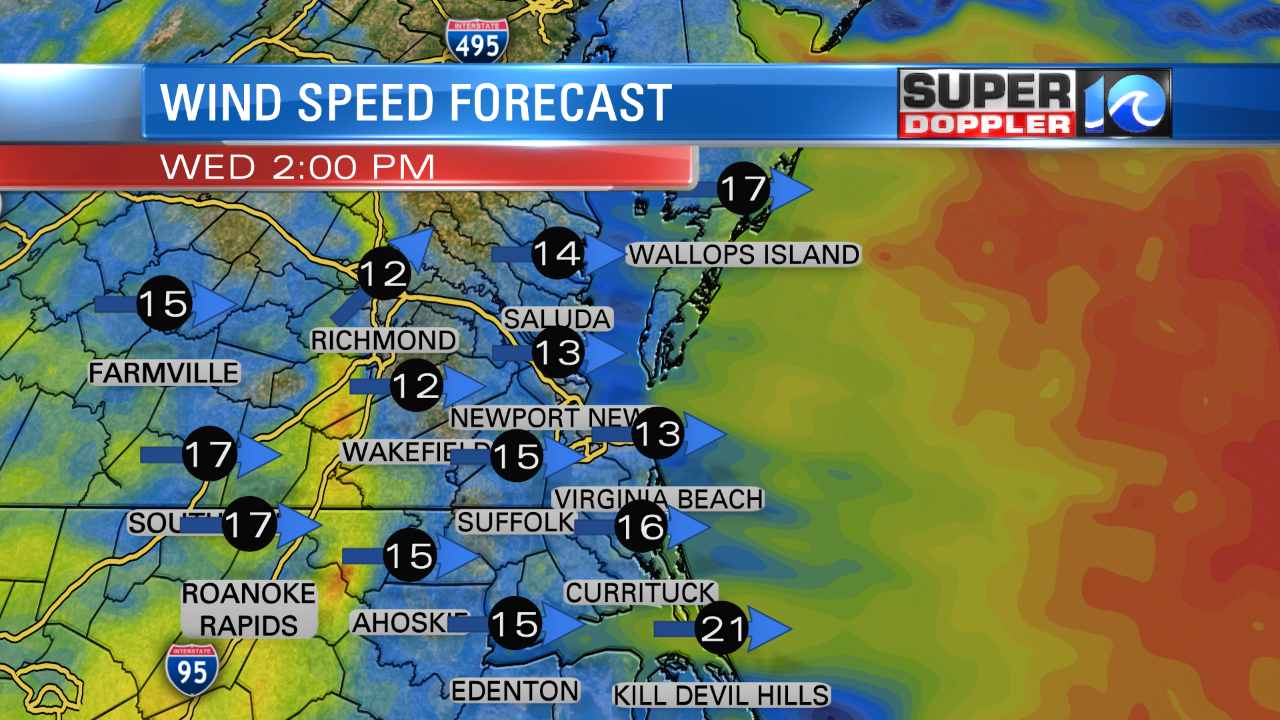 Wind Forecast (Wednesday Afternoon)