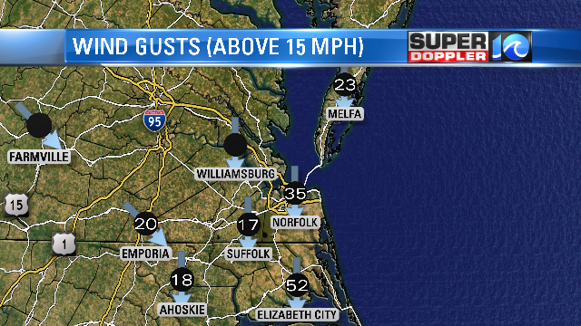 Wind Gusts from 7PM hour... Look at Elizabeth City