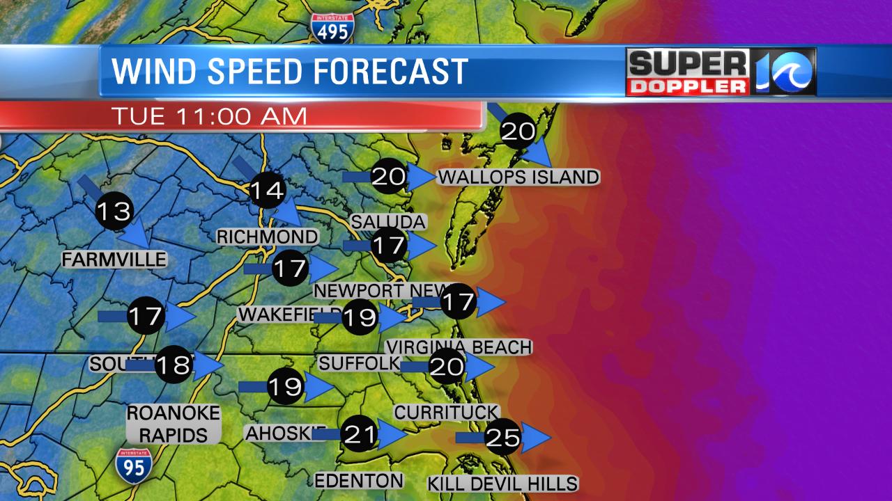 Wind Forecast (Tuesday Morning)
