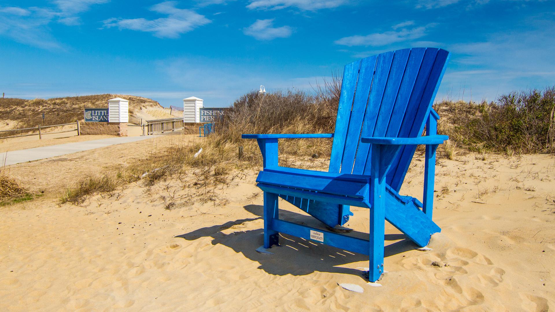 Virginia Beach Sandbridge Giant Blue Chair Generic