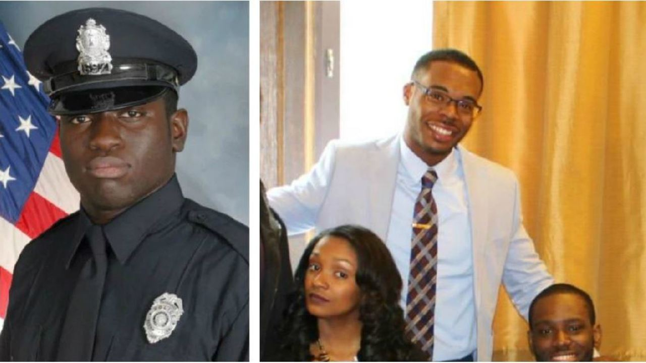 Officer Michael Nyantakyi (left) and Marcus-David Peters