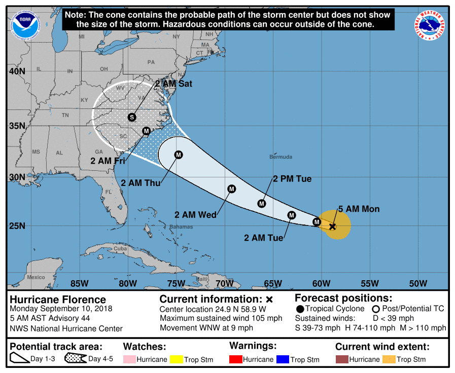 Camp Lejeune could be near Florence's bulls-eye on