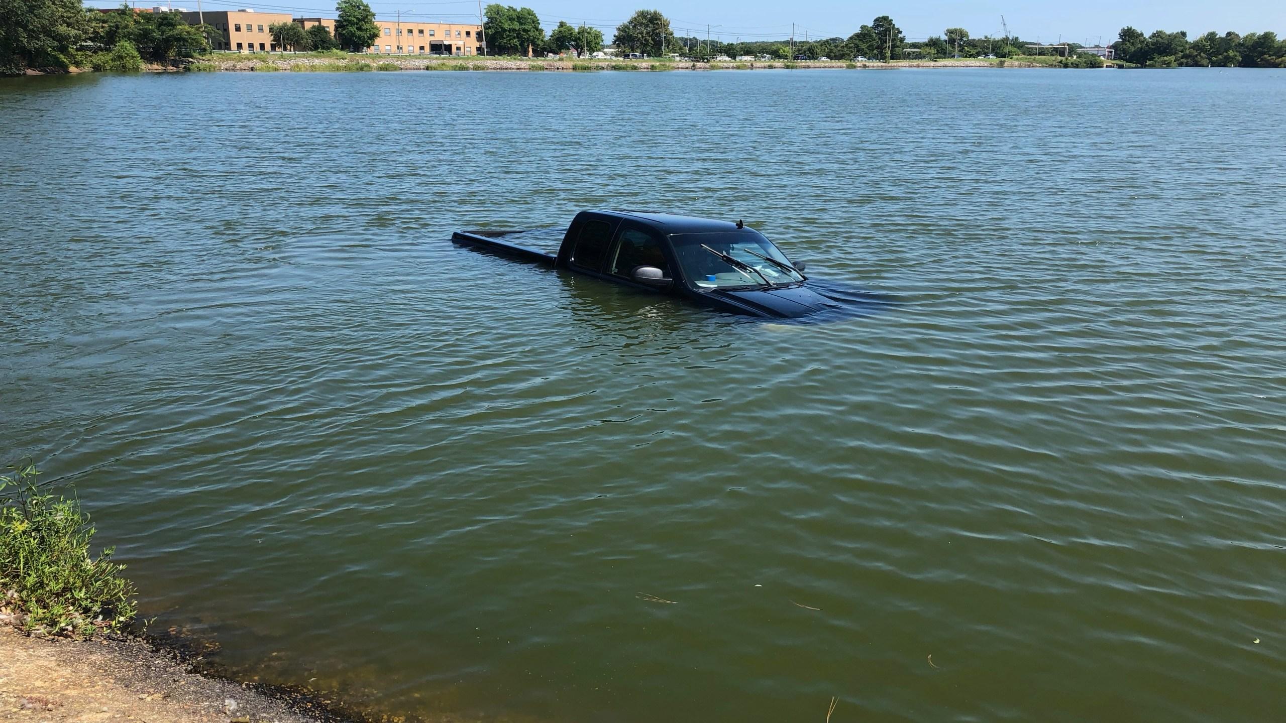 Truck in water Norfolk