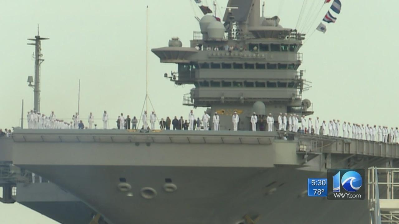 Sailors aboard USS John C. Stennis arrive in Norfolk