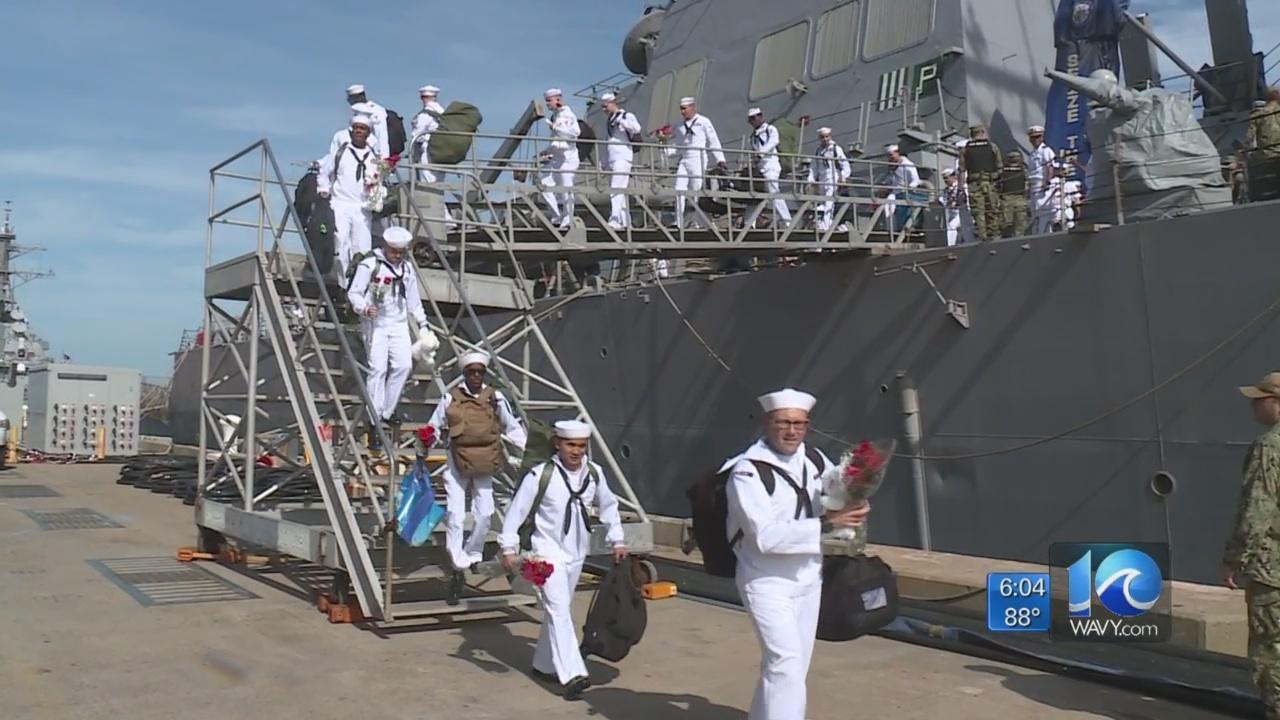 Sailors aboard destroyer USS Mitscher return home