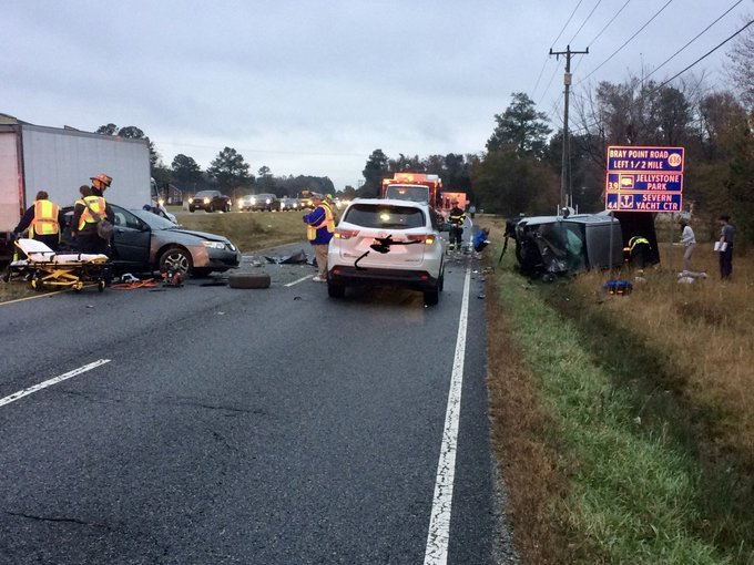 Three transported to the hospital after multi-vehicle crash