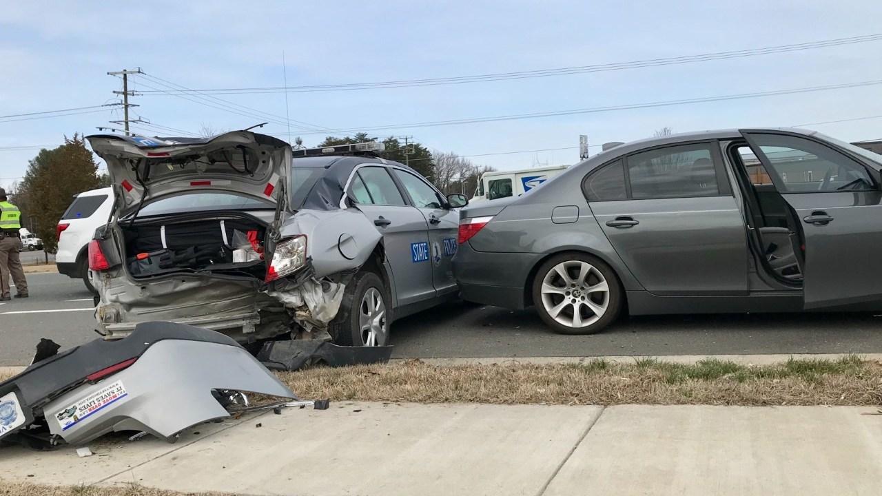 Virginia state trooper hurt after patrol car struck during traffic stop