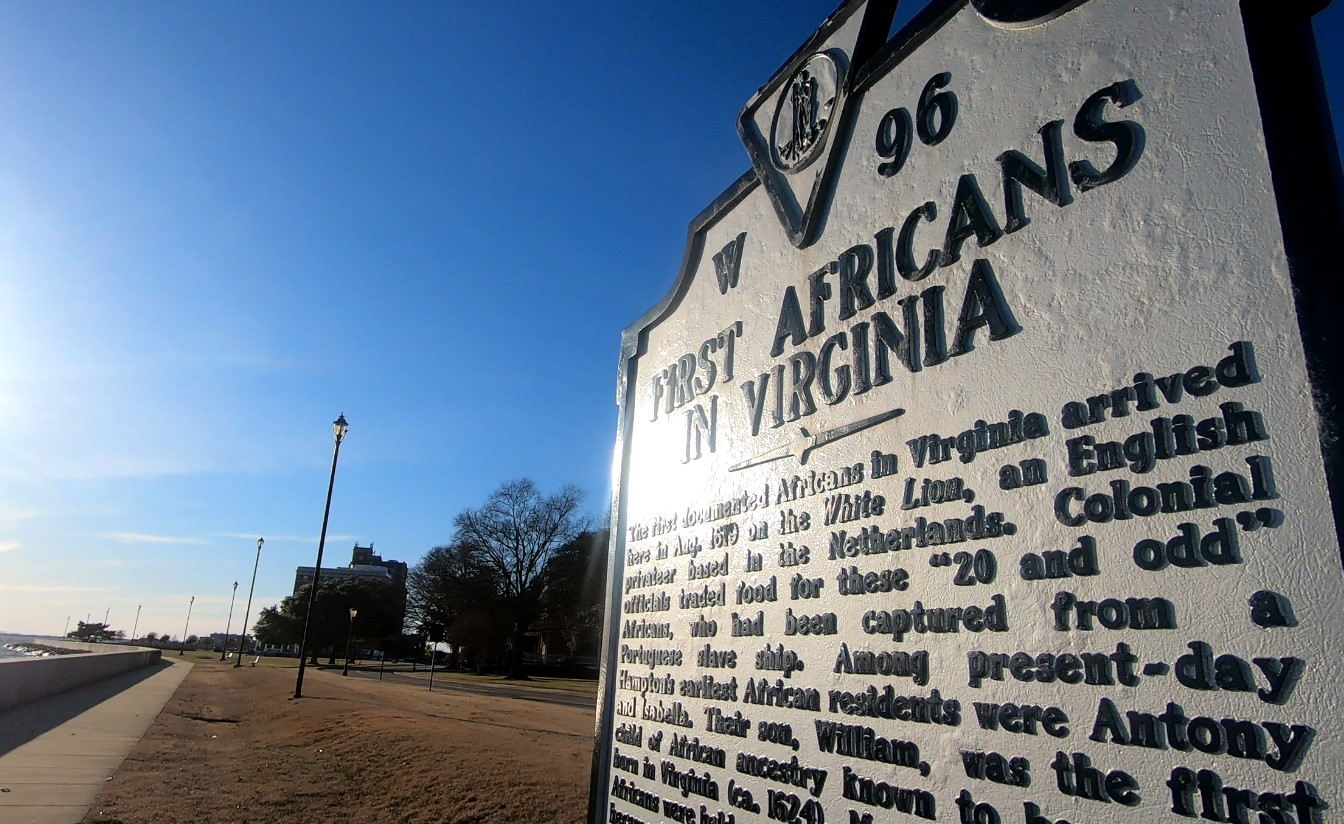 First Africans in Virginia Historical Marker at Fort Monroe
