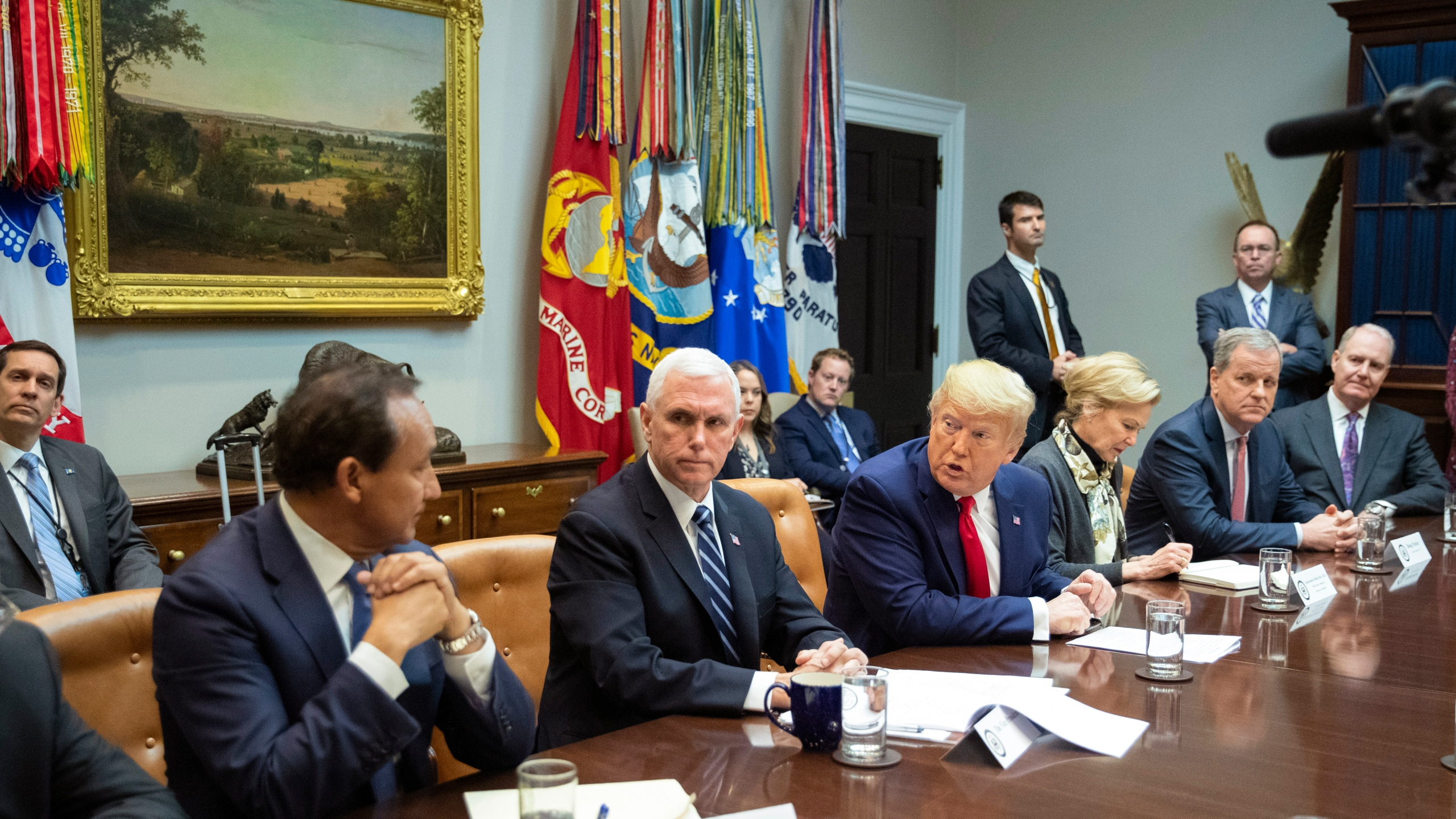 Donald Trump, Mike Pence, Deborah Birx, Oscar Munos, Doug Parker, Gary Kelly