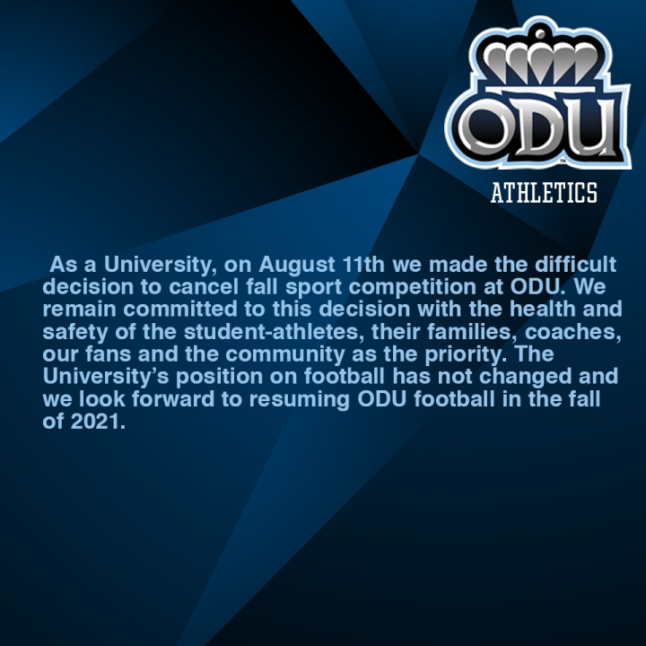 ODU won't resume football until fall 2021   WAVY.com